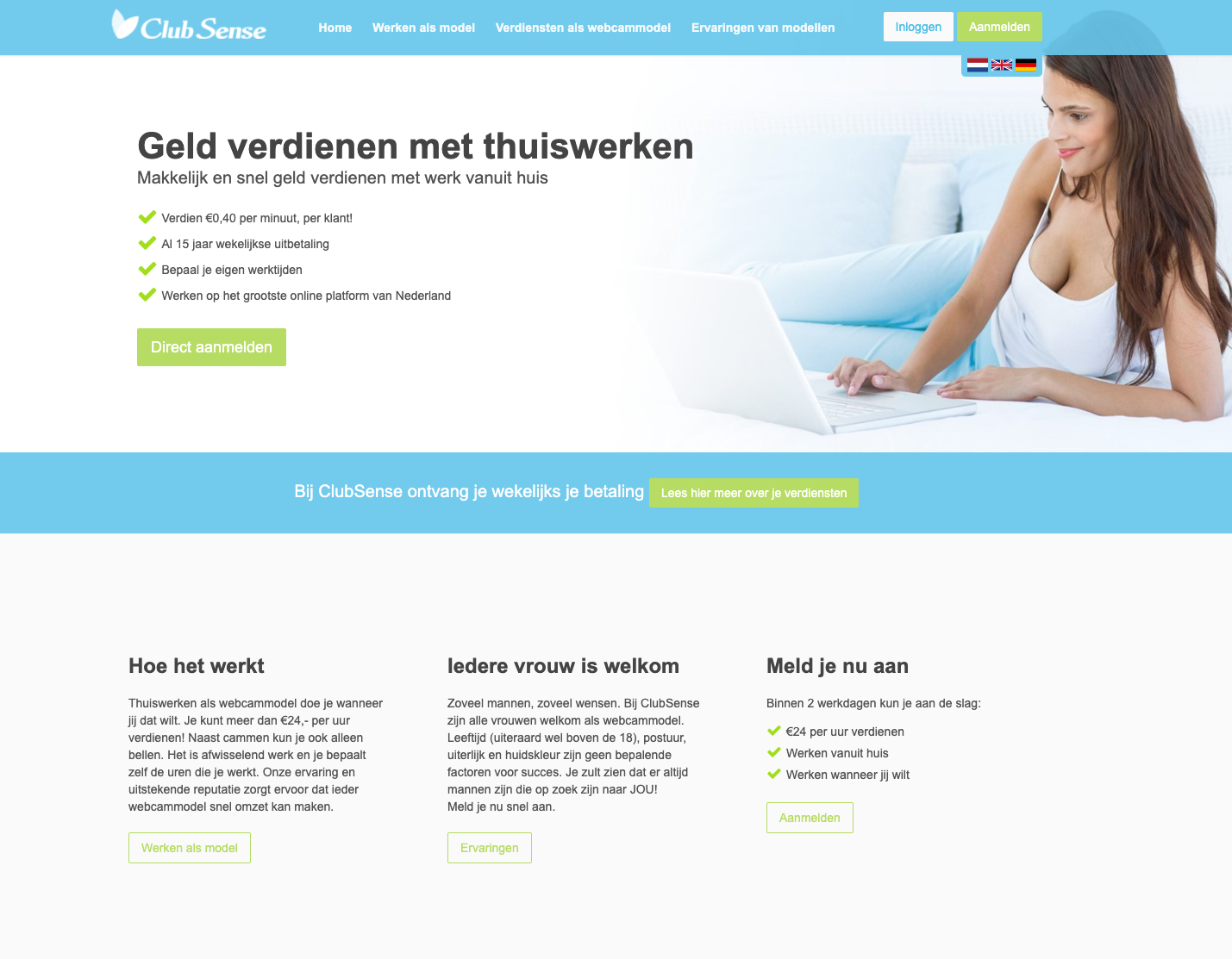 Screenshot van de website van ClubSense