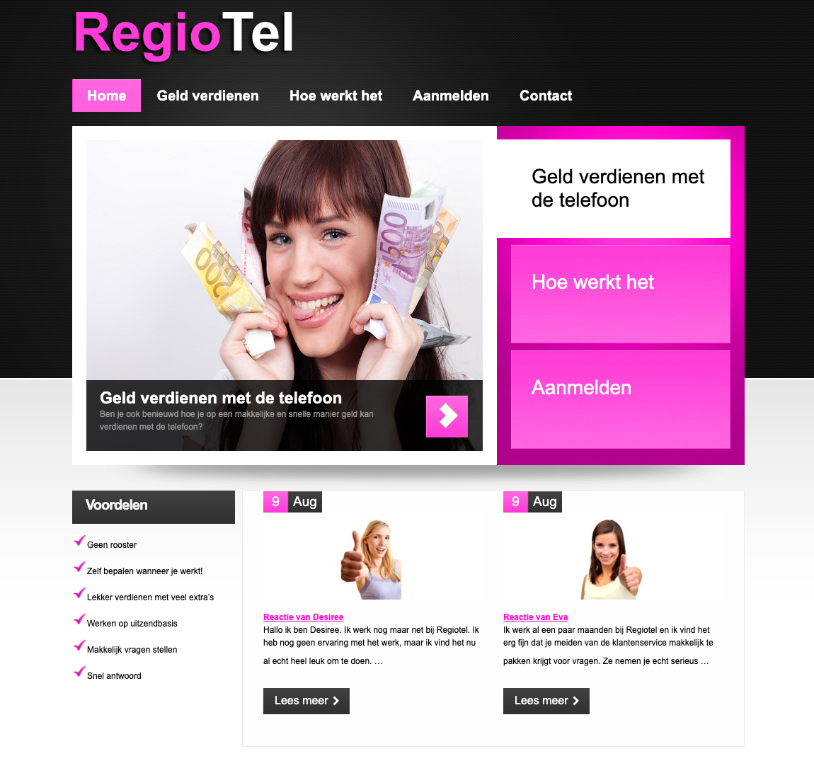 Screenshot van de website van RegioTel