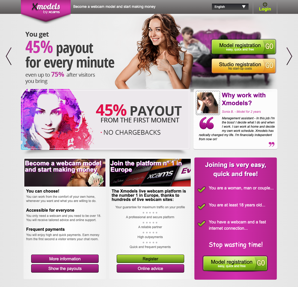 Screenshot van de website van Xmodels