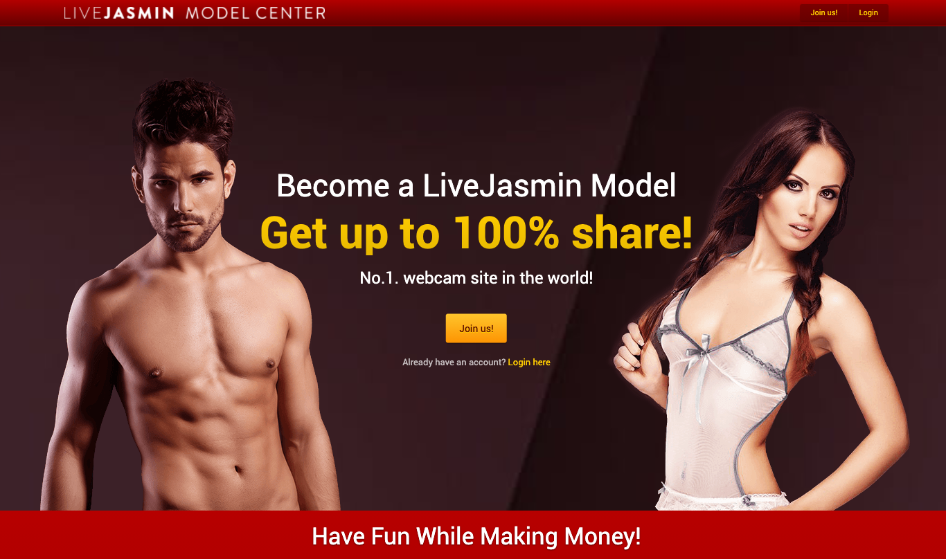 Screenshot van de website van Livejasmin Modelcenter